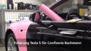 Komplettfolierung Tesla S für Confiserie Bachmann in Luzern
